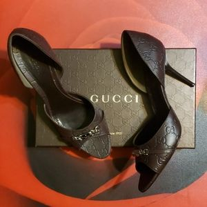 Gucci Chocolate Guccissima Heels